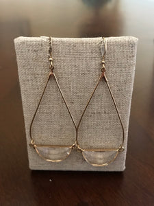 Gold Drop Earrings with Clear Stone