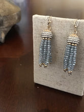 Load image into Gallery viewer, Blue Beaded Tassel Earrings