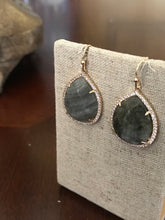 Load image into Gallery viewer, Dark Grey and Gold Rhinestone Earrings