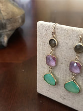 Load image into Gallery viewer, Triple Stone Dangle Earring