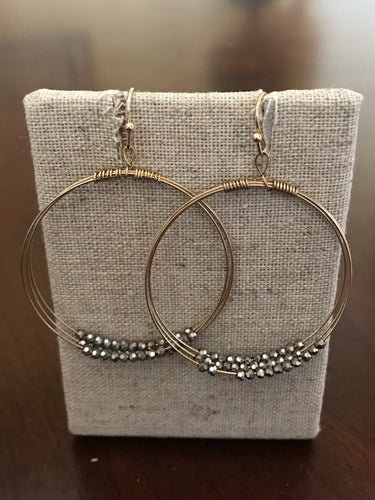 Gunmetal Beaded and Gold Earrings