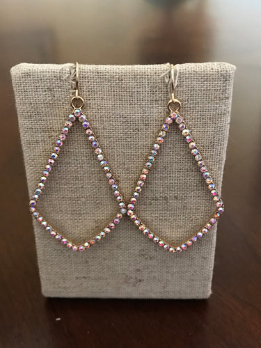 Teardrop Rhinestone and Gold Dangle Earrings