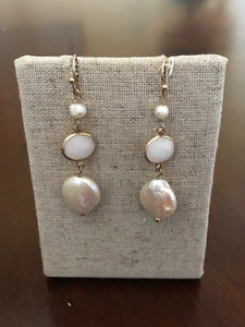 Triple Pearl Stone Dangle Earring