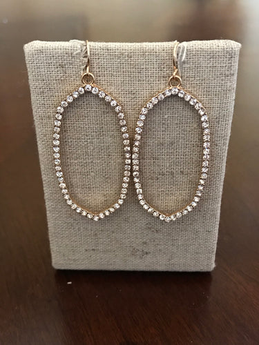 Oval Rhinestone and Gold Dangle Earrings