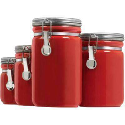 Canister Set Red Ceramic 4pc