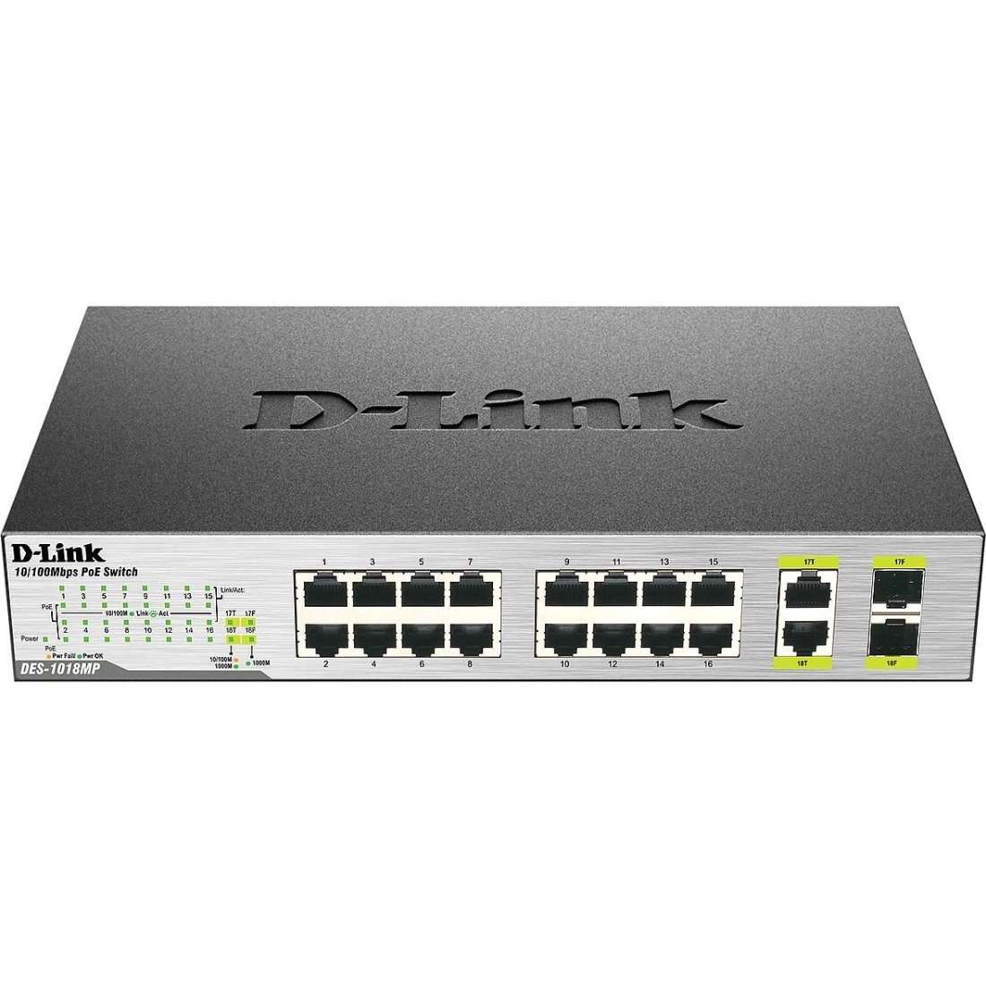 D-Link DES-1018MP 18-Port 10-100 Unmanaged PoE Switch Including 2 1000BASE-T-SFP Combo Ports