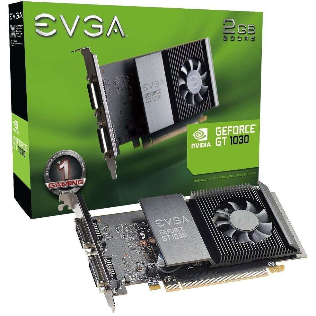 EVGA GeForce GT 1030 Graphic Card - 1.29 GHz Core - 1.54 GHz Boost Clock - 2 GB GDDR5 - Full-height - Single Slot Space Required