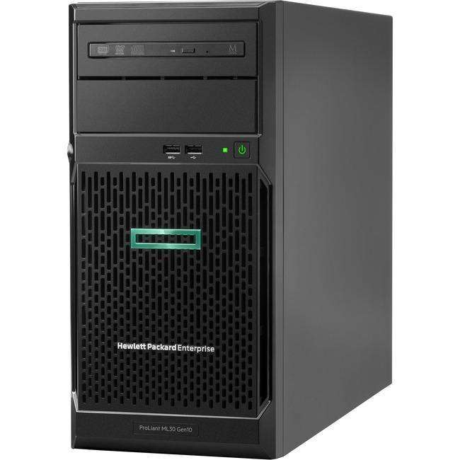 HPE ProLiant ML30 G10 4U Tower Server - 1 x Xeon E-2124 - 8 GB RAM HDD SSD - Serial ATA-600 Controller