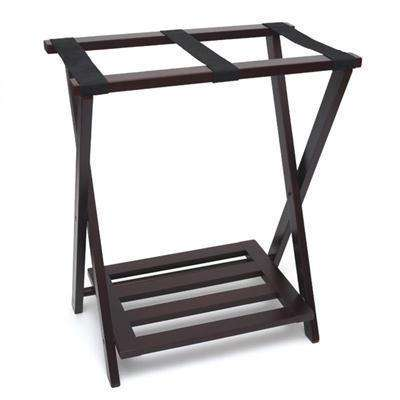 Lipper NEW Right Height Folding Luggage Rack with Bottom Shelf, Espresso Finish