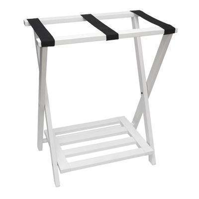 Lipper NEW Right Height Folding Luggage Rack with Bottom Shelf, White Finish
