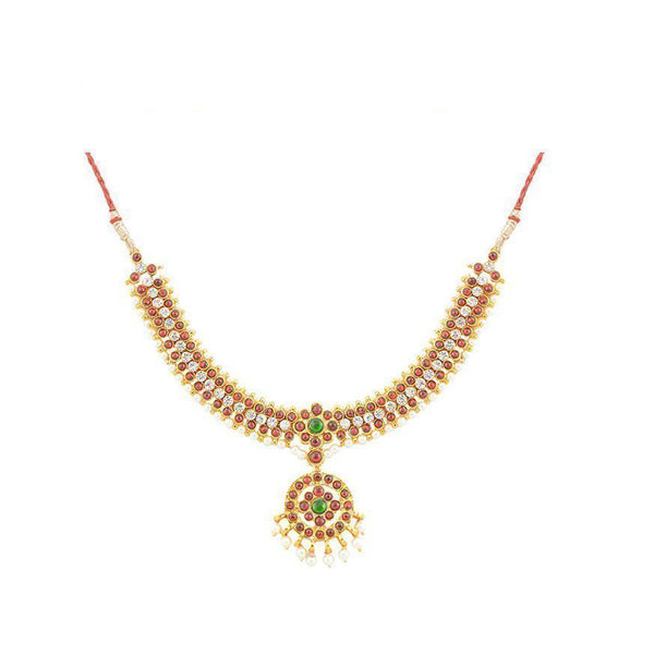 Sowndarya Short Necklace Center White