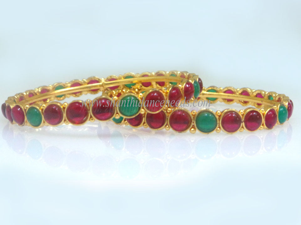 Bangles - Red with Green Stones