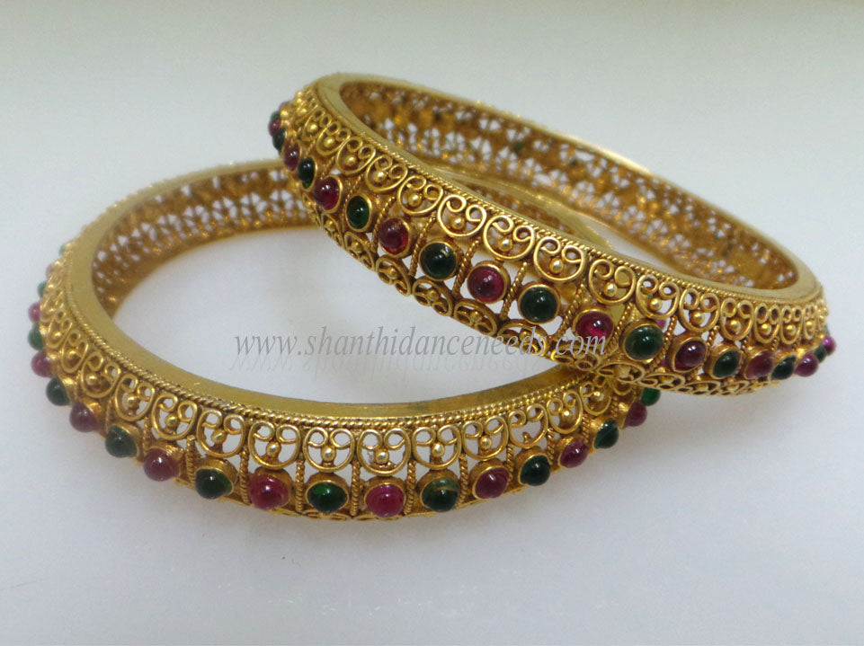 Bangles - Green with Red Stones