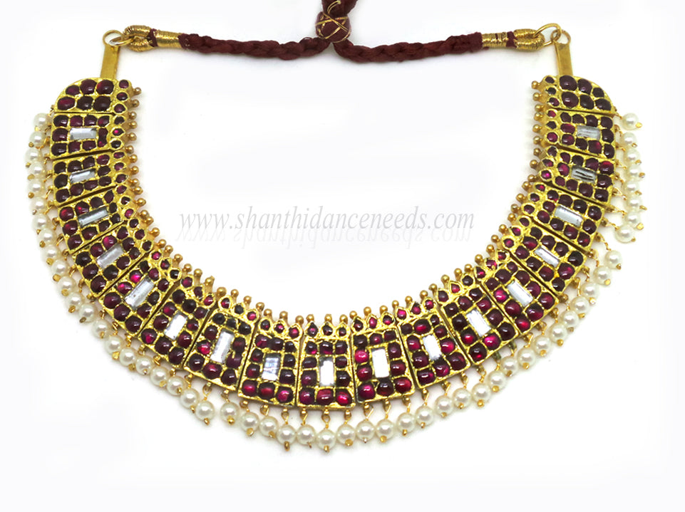 Temple Jewellery POOTHALI NECKLACE - (MAROON (W) WHITE)