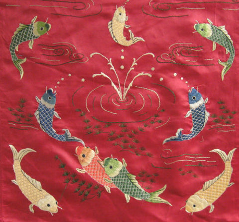 Koi fish as a theme for Chinese silk embroidery