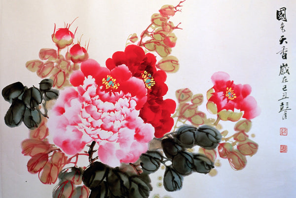 A typical Chinese traditional painting of peonies