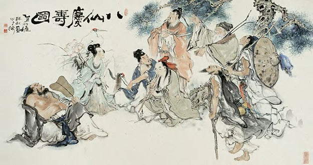 Famous Chinese painting depicting the mythological Eight Immortals.