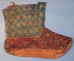 Silk sock made for a Tang Dynasty emperor, discovered in 1983 in Qinghai Province.