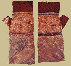 Silk gloves of an emperor of the Han Dynasty discovered in 1971 in a tomb in Hunan Province.