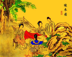 Depiction of embroiderers in a Chinese imperial palace.