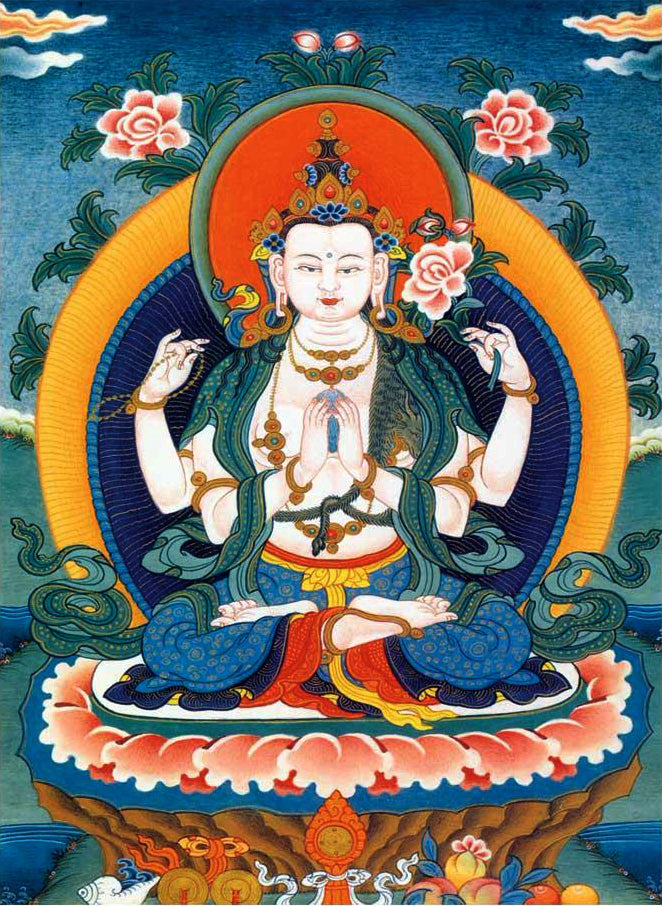 Embroidery Thangka of Four armed Avalokitesvara