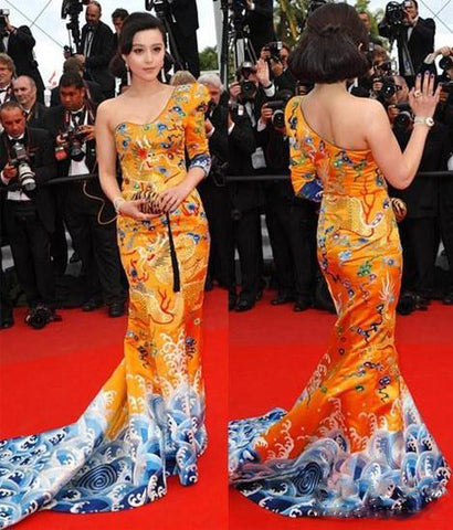 Chinese celebrity Fan Bingbing in a specially-designed dragon robe on the red carpet of the Cannes International Film Festival in 2010.
