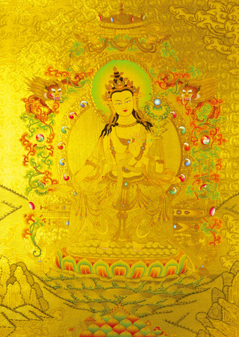 Thangka in Gold of the Tara Who Bestows Prosperity