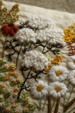 a detail of crewel embroidery