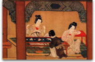 Ancient Chinese painting of several female embroiderers working on silk embroidery in a pavilion