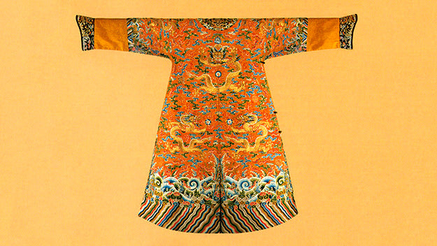 Twelve-symbol imperial robe cut in Qing style, Chinese, late nineteenth century.