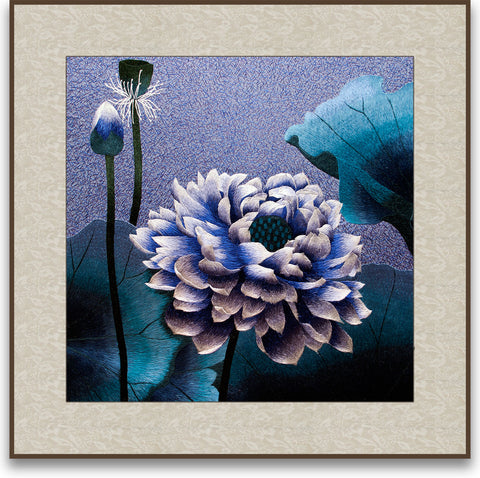 Art of Silk Blue Lotus Flower Hand Designed Silk Art