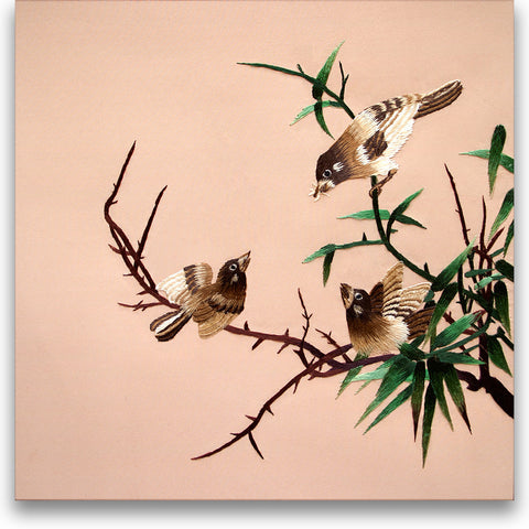 Sparrows Feeding on a Willow Tree-3