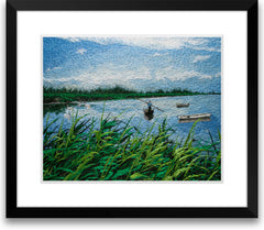 Swaying Fishboat Among Reed Marshes