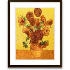 Vase of Fifteen Sunflowers