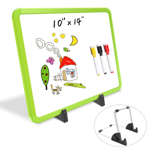 "ZHIDIAN Small Dry Erase Board on Stand - 10 x 14"", Magnetic Whiteboard for Desk Table, Double-Sided Marker Board Easel Includes 4 Markers & 1 Eraser - Green"
