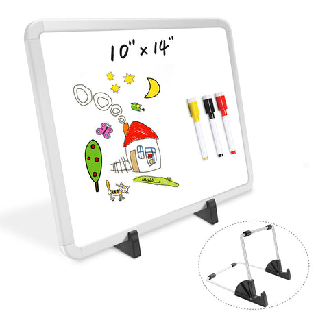 "ZHIDIAN Small Dry Erase Board on Stand - 10 x 14"", Magnetic Whiteboard for Desk Table, Double-Sided Marker Board Easel Includes 4 Markers & 1 Eraser - White"