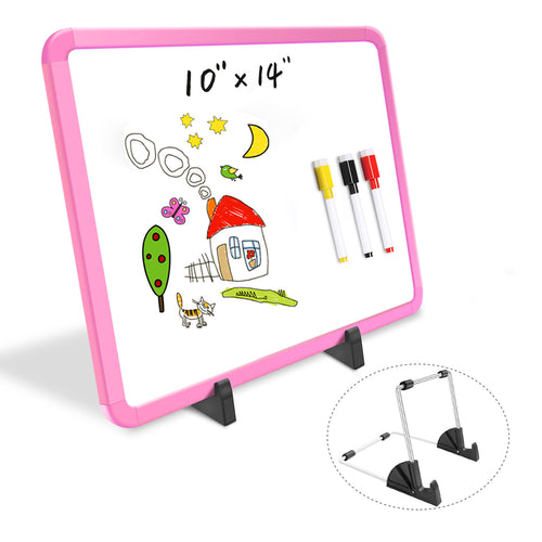 "ZHIDIAN Small Dry Erase Board on Stand - 10 x 14"", Magnetic Whiteboard for Desk Table, Double-Sided Marker Board Easel Includes 4 Markers & 1 Eraser - Pink"