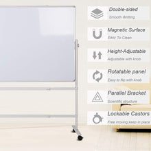 "Load image into Gallery viewer, Double-sided Magnetic Mobile Whiteboard with Stand, Height-adjustable & Lockable Wheels, 36"" x 24"""