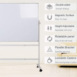 "Double-sided Magnetic Mobile Whiteboard with Stand, Height-adjustable & Lockable Wheels, 36"" x 24"""