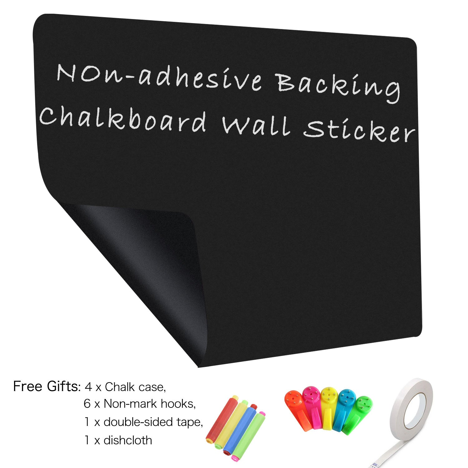 4x Chalkboard Black Contact Paper Erasable Wall Sticker Self-adhesive Decal Deco