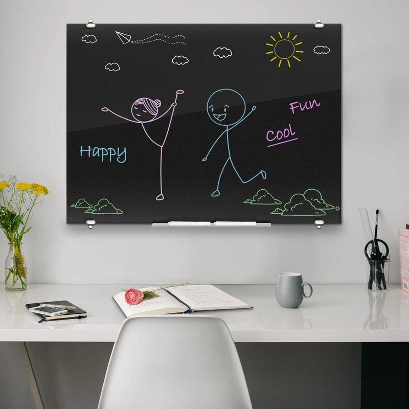 ZHIDIAN Black Glass Dry Erase Board, Magnetic Glass Whiteboard with Black Surface for Office School Home, 4 Markers, 1 Eraser, 4 Magnets