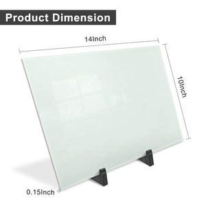 ZHIDIAN Small Glass Dry Erase Board Desktop Easel - 10 x 14 inches, Magnetic Glass Whiteboard on Stand for Table Desk, Great for Office Home, Stain-Resistant Tempered Glass