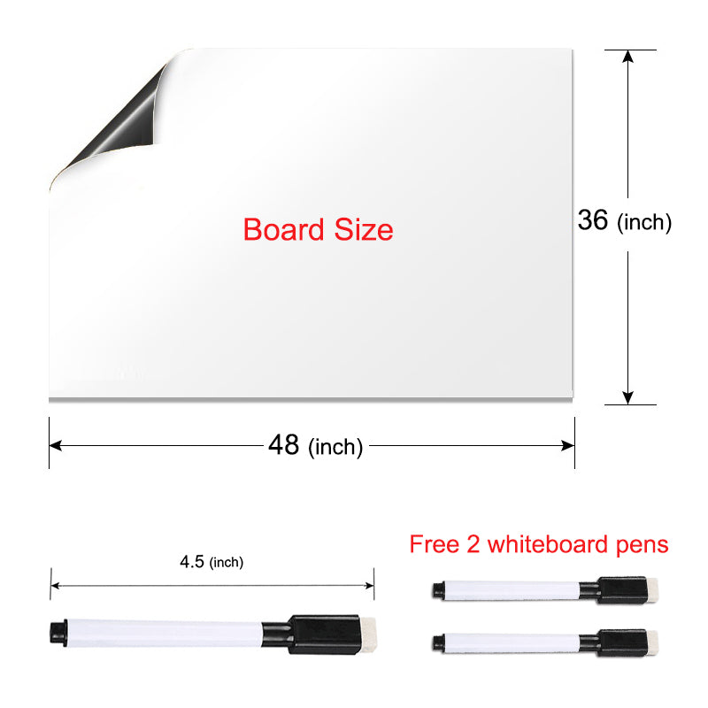 Self-Adhesive Magnetic Whiteboard for Wall, Peel & Stick Dry-Erase Board 48x36 inches