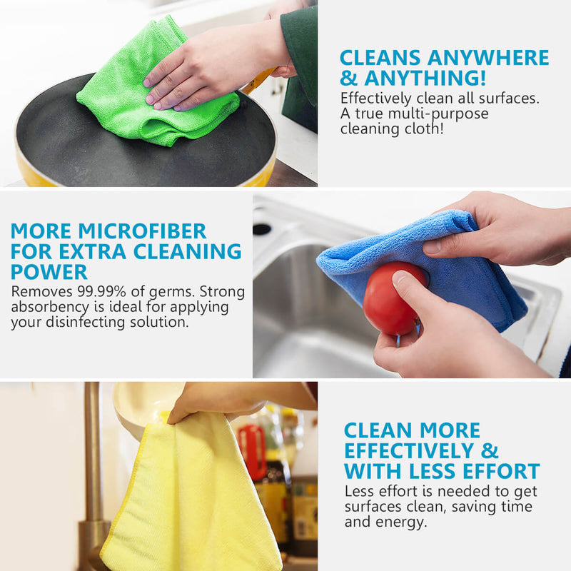 MAKUANG Microfiber Cleaning Cloths, Highly Absorbent Towel, Reusable Softer Cloth for Home Kitchen, Lint-Free and Streak-Free Polishing Rag for Car Glass, All-Purpose Assorted Colors, 12x12""