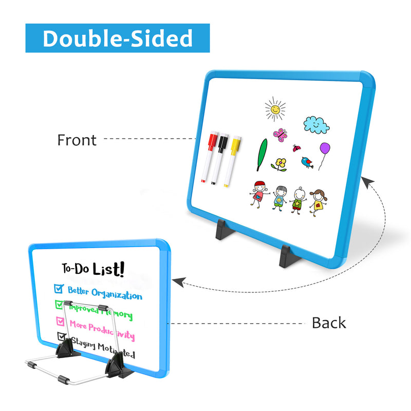 "ZHIDIAN Small Dry Erase Board on Stand - 10 x 14"", Magnetic Whiteboard for Desk Table, Double-Sided Marker Board Easel Includes 4 Markers & 1 Eraser - Blue"