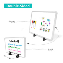 "Load image into Gallery viewer, ZHIDIAN Small Dry Erase Board on Stand - 10 x 14"", Magnetic Whiteboard for Desk Table, Double-Sided Marker Board Easel Includes 4 Markers & 1 Eraser - White"