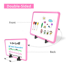 "Load image into Gallery viewer, ZHIDIAN Small Dry Erase Board on Stand - 10 x 14"", Magnetic Whiteboard for Desk Table, Double-Sided Marker Board Easel Includes 4 Markers & 1 Eraser - Pink"