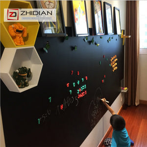 "ZHIDIAN Magnetic Chalkboard Contact Paper for Wall, 48"" x 36"" Non-Adhesive Back Chalkboard Wallpaper, Blackboard Wall Sticker with Chalks for Home/School/Playroom"