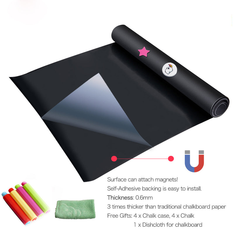 "Self-Adhesive & Magnetic Chalkboard for Wall, Peel and Stick Blackboard Roll 48""x24"""