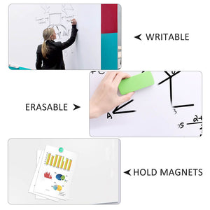 Large Magnetic Whiteboard Sticker for Wall | Non-Adhesive Back with Dry Erase Board Surface | 94 x 48 Inches, Includes 2 Markers 6 Magnets | Thick and Removable